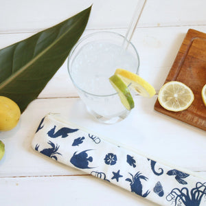 Reusable Straw Case - Sea Life Straw Pouches in Ocean Turtle pattern - OhKoey
