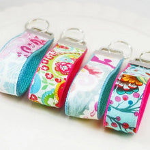Load image into Gallery viewer, Girly Girl Wristlet KeyRing - Wrist Key chain - Paisley Fabric Wristlet Key ring - OhKoey