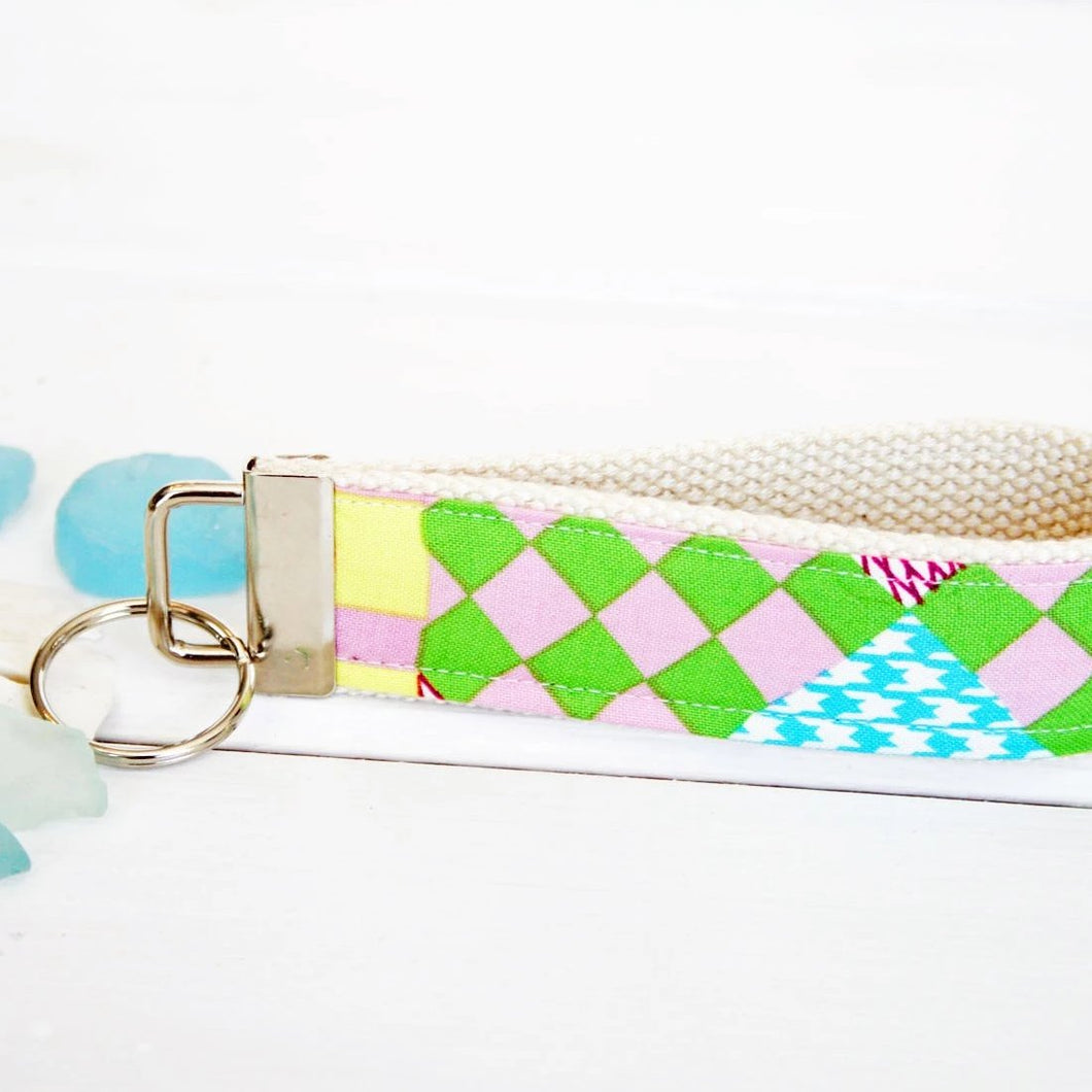 Party Pink Preppy Wristlet Key Ring •  Custom Wrist Keychain •  Personalized Keyring - OhKoey