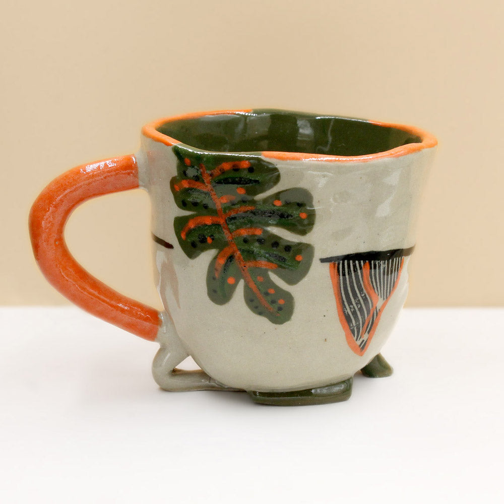 Palm Mug with Orange Handle