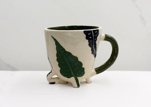 Green Palm and Black Leaf Mug with Green Handle