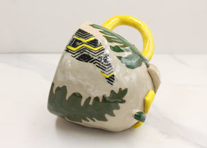 Green Palm Mug with Yellow Detailing and Yellow Handle