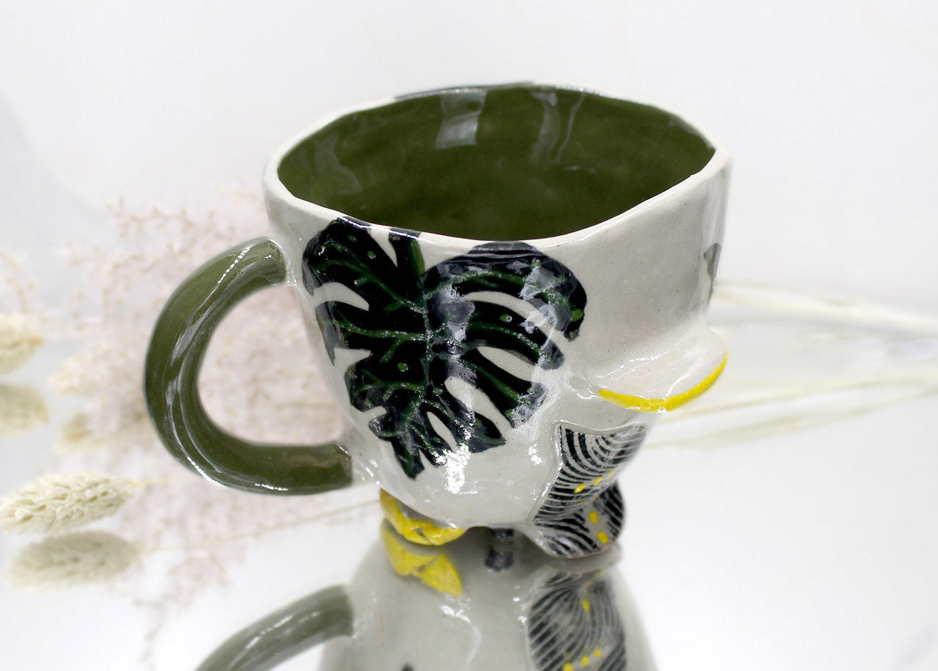Green Palm Mug with Yellow Detailing and Olive Handle and Interior