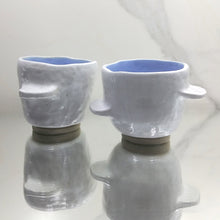Load image into Gallery viewer, White Tabbed Cup with Blue Interior