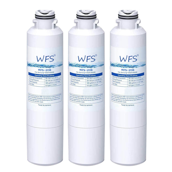 Compatible with DA29-00020B DA2900020A Refrigerator Water Filter for Samsung 3 Packs by WFS