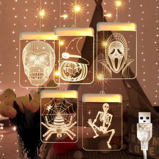 Fairy Star Twinkle Halloween Skull Pumpkin Indoor Fancy Hanging Dangling Light
