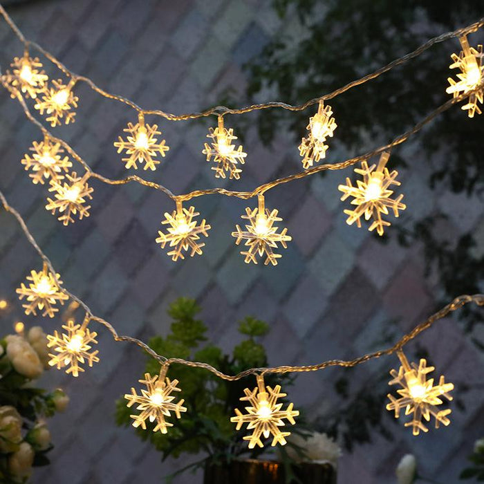 Christmas White Snowflakes Decoration String LED Lights
