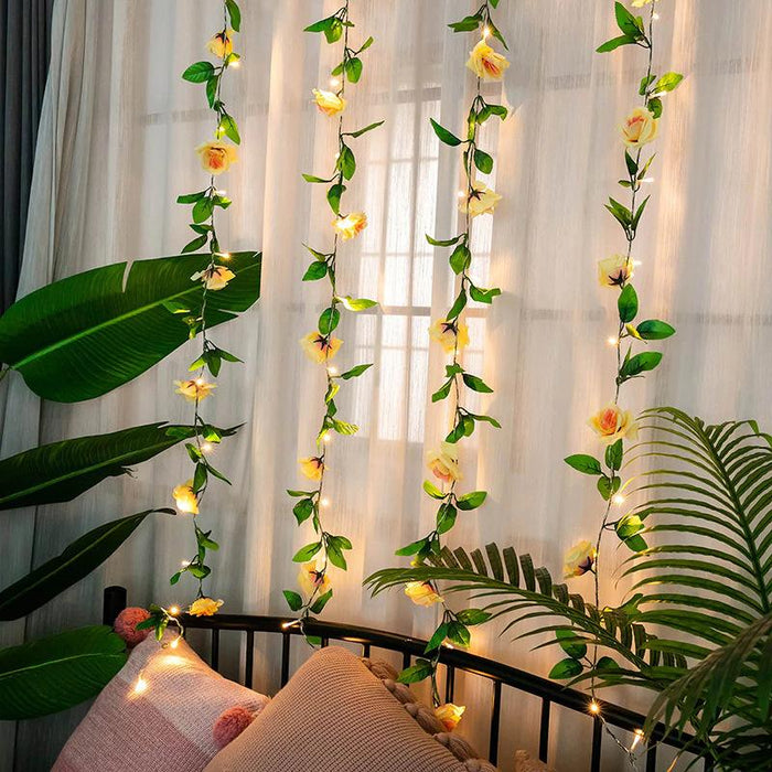 Fairy Fancy Rose Flower Vine Wedding Garden Bedroom Plants Decorative String Light