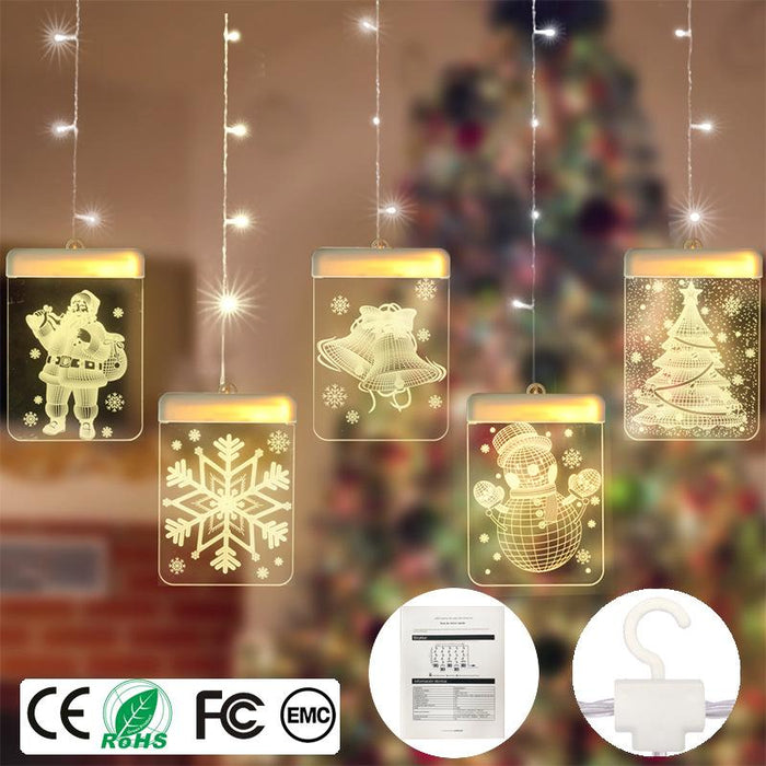 Fairy Star Twinkle Christmas Snowman Indoor Fancy Hanging Dangling Light