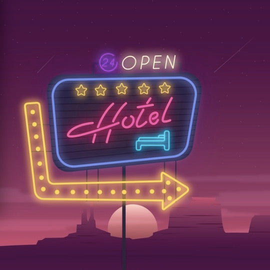 Realistic hotel neon sign
