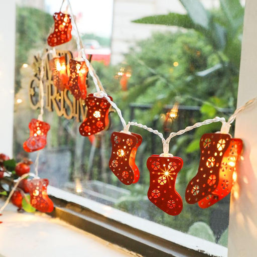 Christmas Warm Santa Outdoor Stocking Tree Red Lamp Decoration String LED Lights