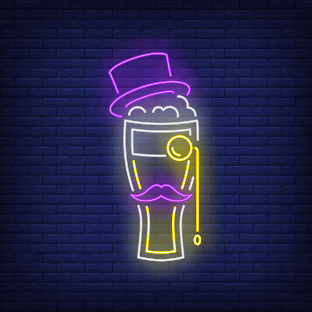 Beer Glass With Topper Hat LED Neon Lights
