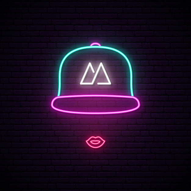 Girl with baseball cap neon sign