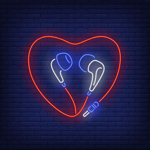 Heart shaped earphones cable neon sign