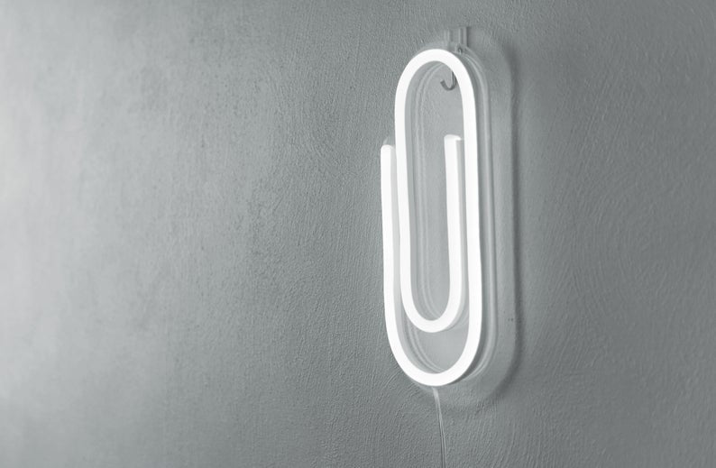 Paper Clip Led Neon Sign / Back To School / Office Decor