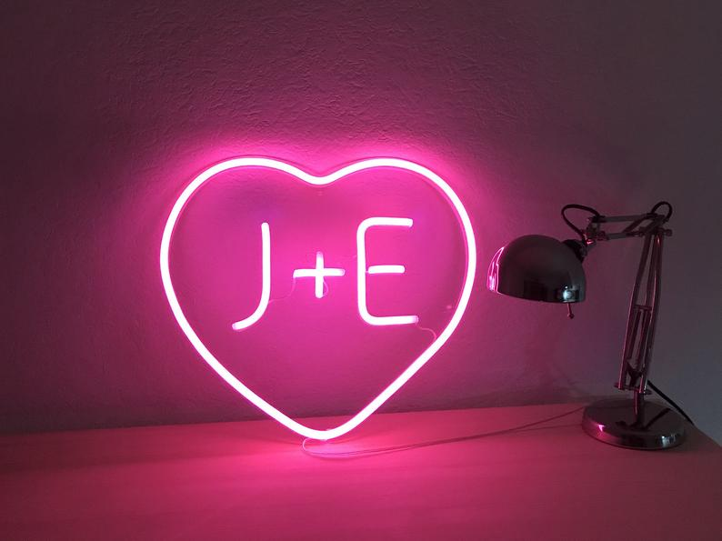 Wedding Gift - Heart Sign With Capital Block Initials. Unique Hand Crafted Custom Neon Sign For Wedding Decoration