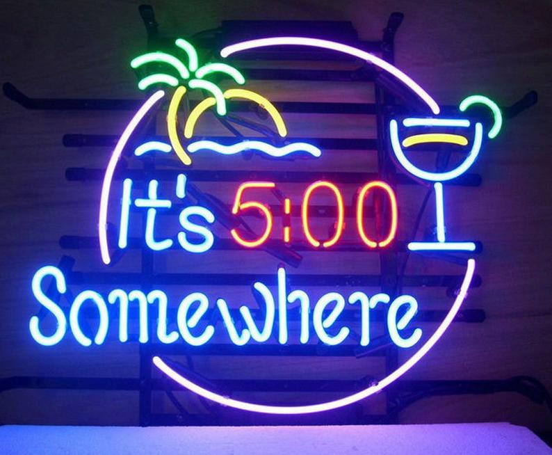 It's 5:00 Somewhere LED Neon Sign Lights for Drinking Cocktail Bar Deco Hand Crafted Flex LED Neon Lights Custom Neon Sign Personalize