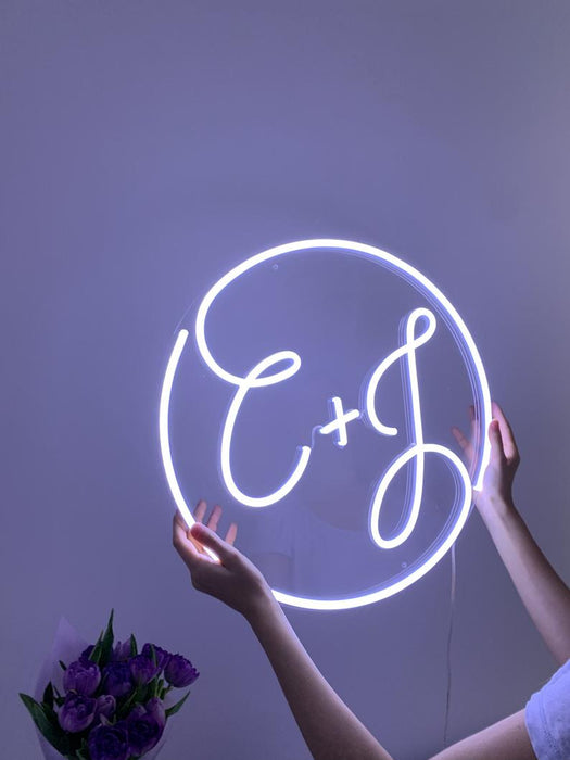 Wedding Monogram - Unique Custom Led Neon Initials Sign. Unique Hand Crafted Neon Signs Made Just For You!