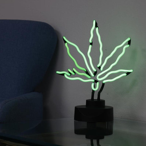 Amazing Hand Blown Green CANNABIS Leaf NEON Sculpture Marijuana, 420 Desk Top Neon Sign