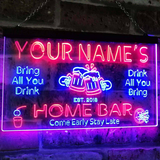Personalized Your Name Custom Home Bar Neon Signs Beer Established Year Dual Color LED Neon Light Sign st6-p1-tm