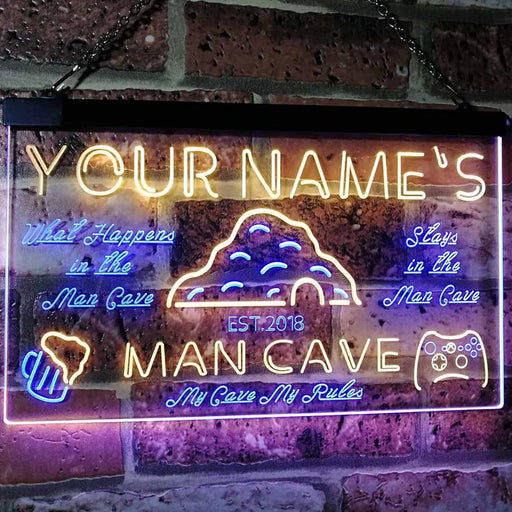 Personalized Your Name Custom Man Cave Game Bar Established Year Dual Color LED Neon Sign