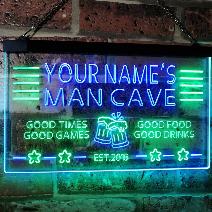 Personalized Your Name Custom Man Cave Bar Beer Established Year Dual Color LED Neon Sign