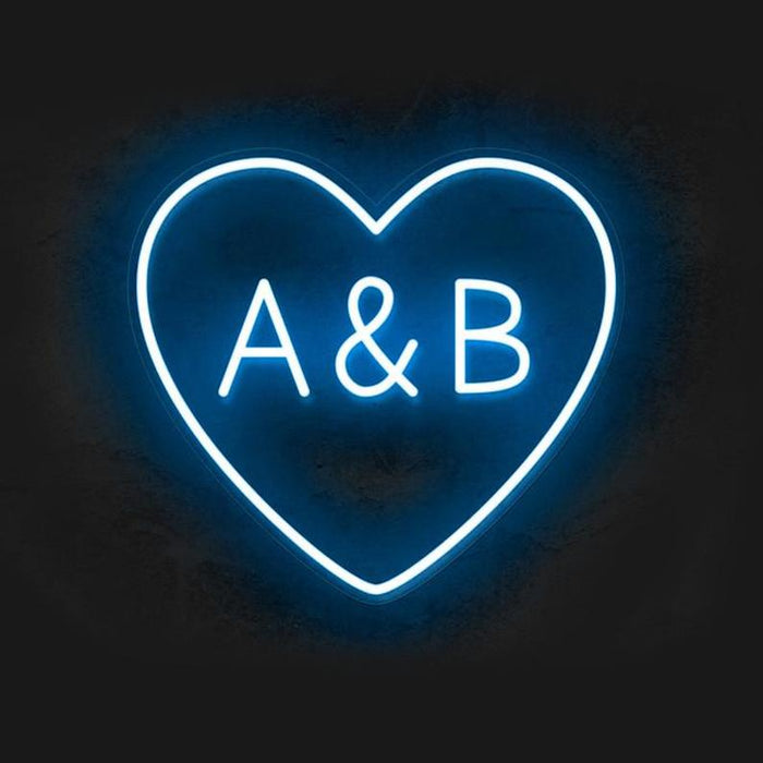 Custom Heart Initials Sign | Wedding Neon Sign, Gift For Wedding, Wedding Gift, Neon Sign Custom, Led Neon Sign, Neon Wedding