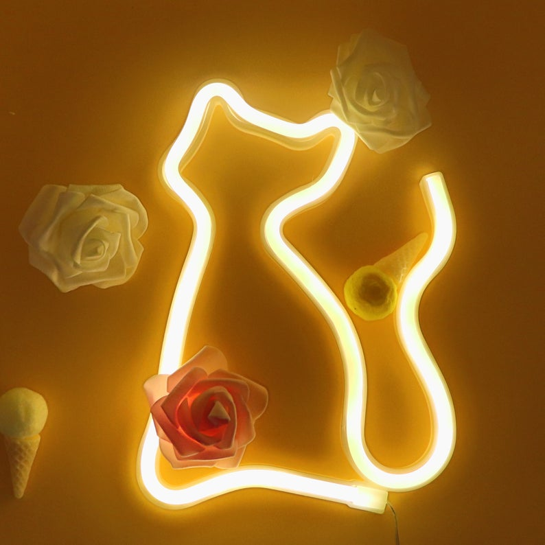 Cat Neon Light, Pet Neon Sign, Galvanized Decor, Wall Decor, Cat Lover Gift Light Valentine Ideas, Wall Neon Sign