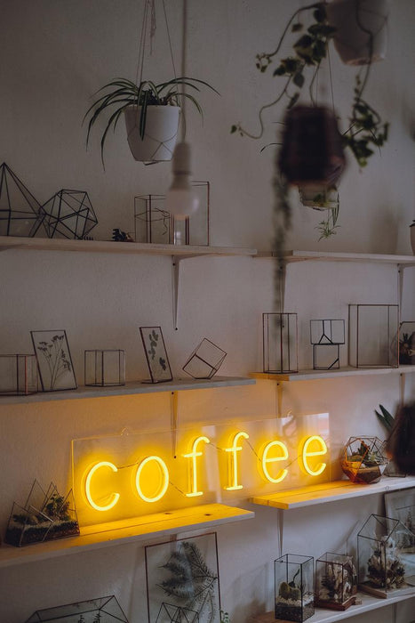 Coffee neon sign for cafe, coffee shops, coffee to go, restaurants and other businesses