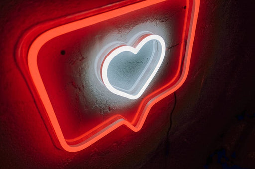 Like Instagram heart Neon sign Custom color medium size