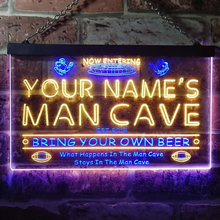 Personalized Your Name Est Year Theme National Football Man Cave Sport Bar Dual Color LED Neon Sign