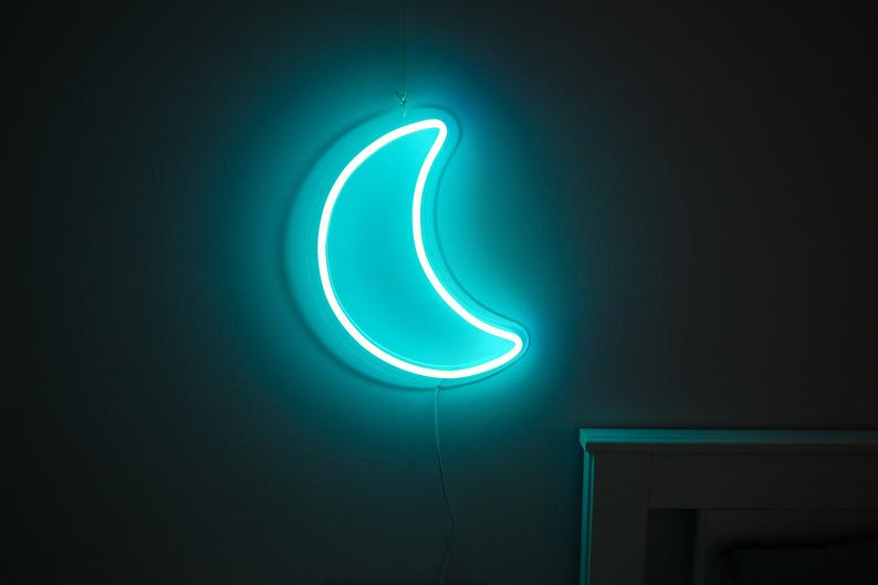 Moon, Half moon, Crescent neon sign for kids room or bedroom night light