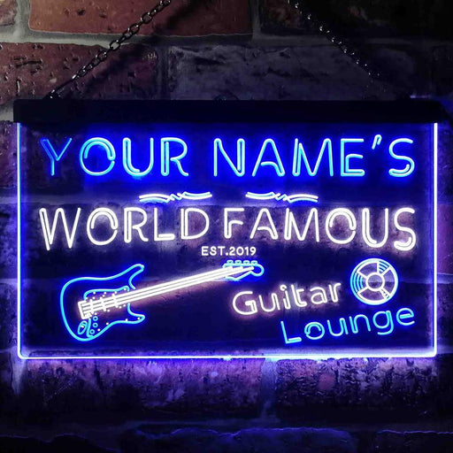 Personalized Your Name Est Year Theme Guitar Room Music Room Dual Color LED Neon Sign