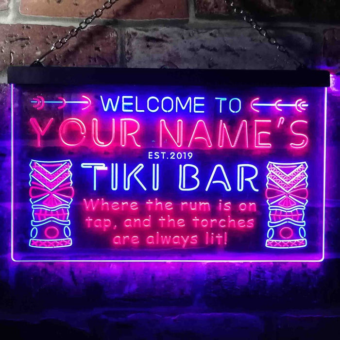 Personalized Your Name Est Year Theme Tiki Bar Home Pub Dual Color LED Neon Sign