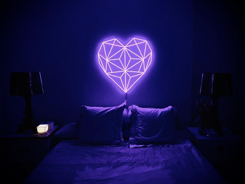 Premium LED Wedding Neon Sign - Geometric Heart
