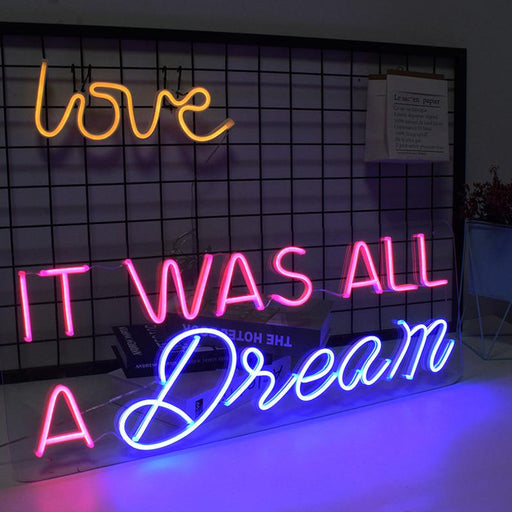 31in x 12in It was all a Dream Neon Sign Acrylic Flex Led Custom Pink Blue Light 12V Home Room Decoration Ins