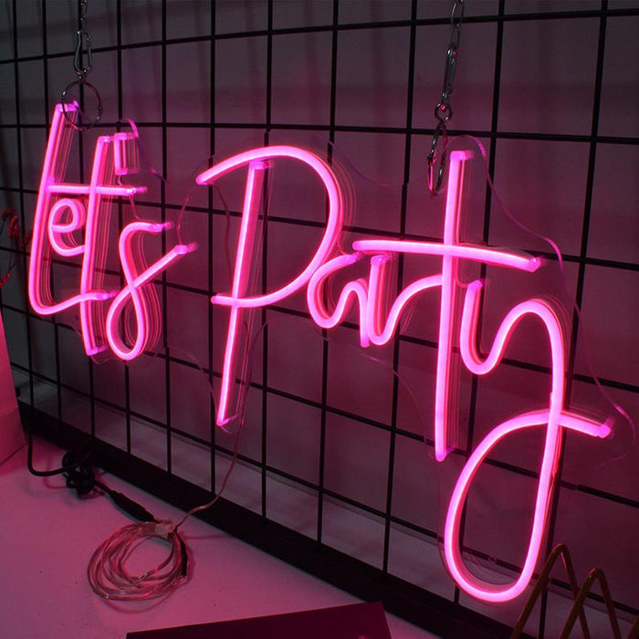 26in x 12in Lets Party Neon Sign Flex Led Custom Pink Light 12V Home Room Decoration Ins