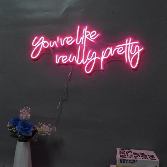 28in x 12in You re like really pretty Neon Sign Acrylic Flex Led Custom Pink Light 12V Home Room Decoration Ins