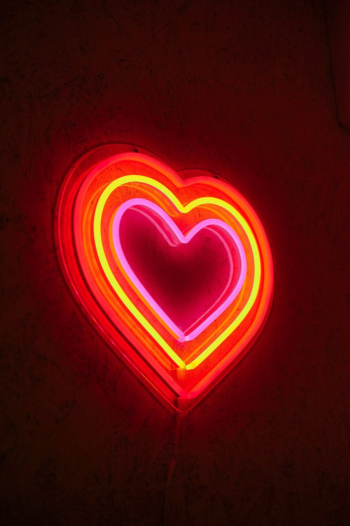 Triple heart, rainbow colorful heart neon sign