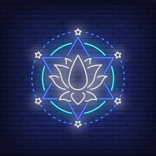 Lotus flower and hexagram star neon sign
