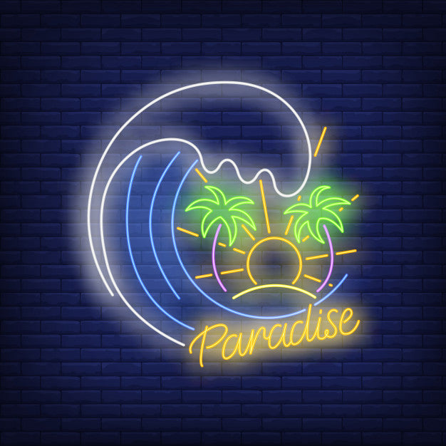 Paradise text with ocean wave, palm trees and sun neon sign