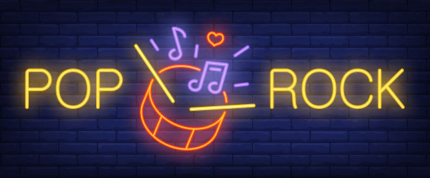 Pop, rock neon text with drum, sticks and music notes sign Lights