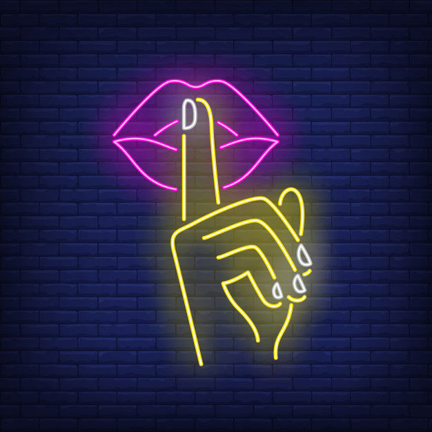Shh Gesture Neon Sign With Wall