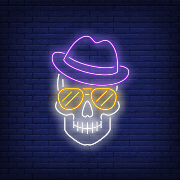 Skull wearing hat and sunglasses neon sign  Lights