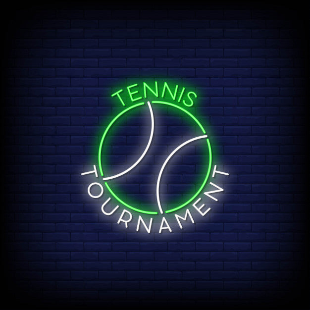 Tennis tournament logo in neon signs