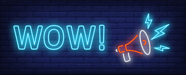 Wow text with megaphone Neon Sign Lights