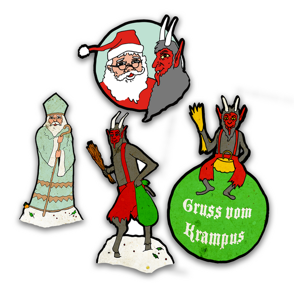 Whimsical Vintage Style 'Tales of Krampus' Christmas Cutout Art Print Set