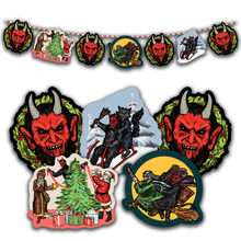 Load image into Gallery viewer, Retro Inspired Krampus & Friends 2020 Christmas Banner