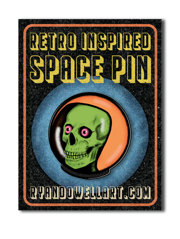 Retro Space Skeleton Lapel Pin