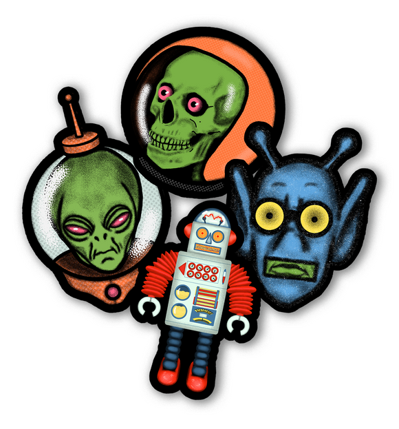 Retro Space Alien Sticker Pack